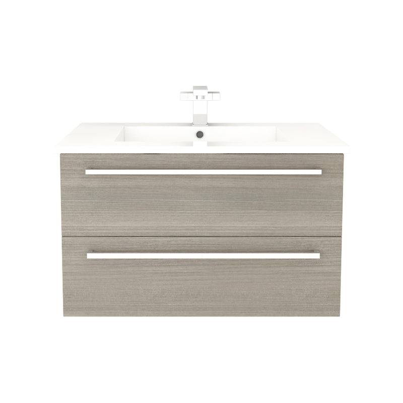 "Cutler Silhouette Collection 30"" Wall Mount Bathroom Vanity - 2 Drawers With Top, Aria"