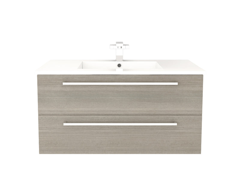 "Cutler Silhouette Collection 36"" Wall Mount Bathroom Vanity - 2 Drawers With Top, Aria"