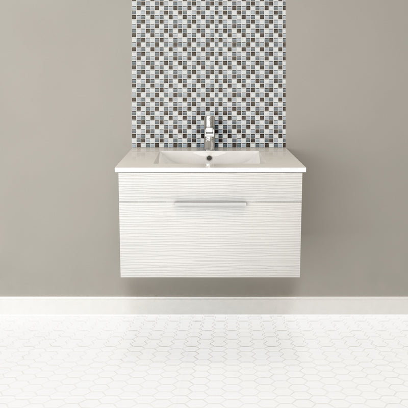 "Cutler Textures Collection 30"" Wall Mount Bathroom Vanity - 1 Drawer With Top, Contour White"