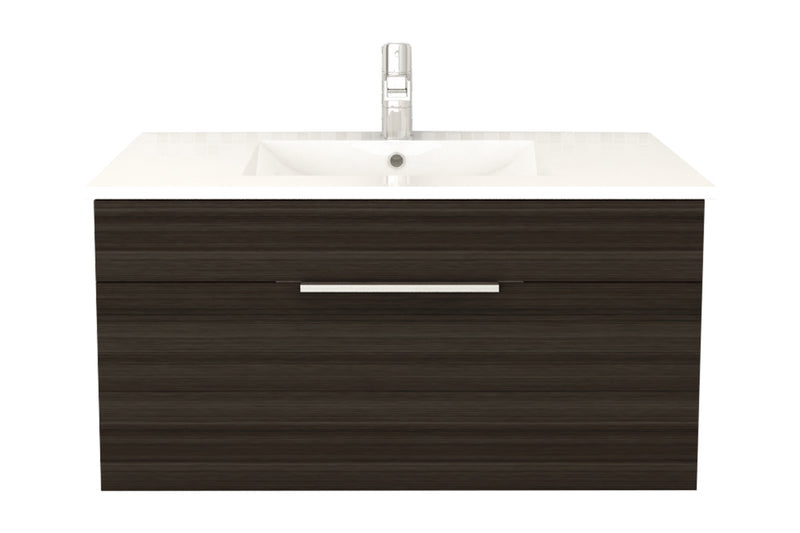"Cutler Textures Collection 36"" Wall Mount Bathroom Vanity - 1 Drawer With Top, Driftwood"