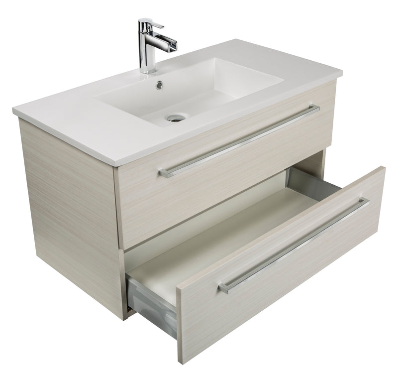 "Cutler Silhouette Collection 30"" Wall Mount Bathroom Vanity - 2 Drawers With Top, White Chocolate"