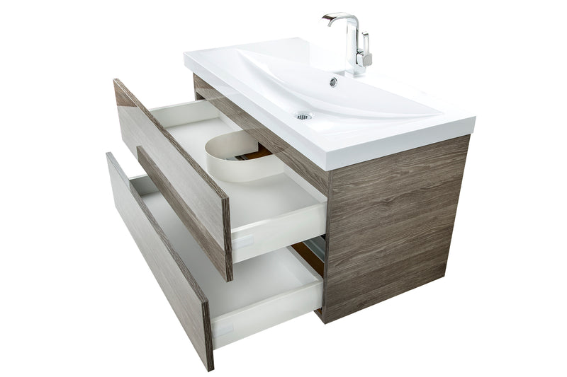 "Cutler Sangallo Gloss Collection 36"" Wall Mount Bathroom Vanity - 2 Drawer with Top, Fossil Oak"