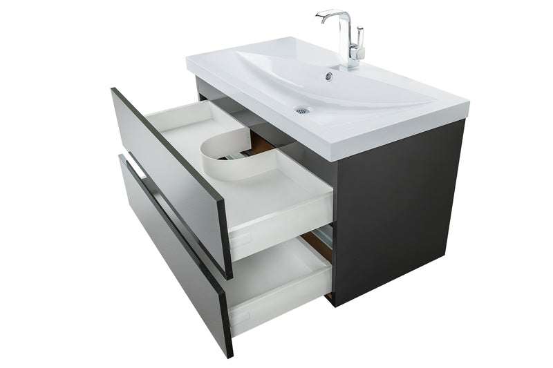 "Cutler Sangallo Gloss Collection 36"" Wall Mount Bathroom Vanity - 2 Drawer with Top, Lava Grey"