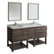 "Fresca Formosa 72"" Wall Hung Double Sink Modern Bathroom Vanity with Mirrors"