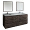 "Fresca Formosa 84"" Floor Standing Double Sink Modern Bathroom Vanity with Mirrors"