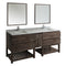 "Fresca Formosa 84"" Floor Standing Double Sink Modern Bathroom Vanity with Open Bottom & Mirrors"