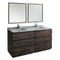 "Fresca Formosa 72"" Floor Standing Double Sink Modern Bathroom Vanity with Mirrors"
