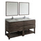 "Fresca Formosa 72"" Floor Standing Double Sink Modern Bathroom Vanity with Open Bottom & Mirrors"