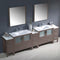 "Fresca Torino 108"" Gray Oak Modern Double Sink Bathroom Vanity with 3 Side Cabinets & Integrated Sinks FVN62-108GO-UNS"