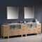 "Fresca Torino 108"" Light Oak Modern Double Sink Bathroom Vanity with 3 Side Cabinets & Integrated Sinks FVN62-108LO-UNS"