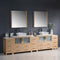 "Fresca Torino 108"" Light Oak Modern Double Sink Bathroom Vanity with 3 Side Cabinets & Vessel Sinks FVN62-108LO-VSL"