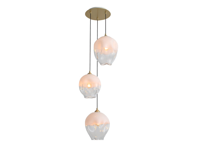 Avenue Lighting Sonoma Ave. Collection 3 Light Pendant Cluster Brushed Brass HF8143-BB-WH