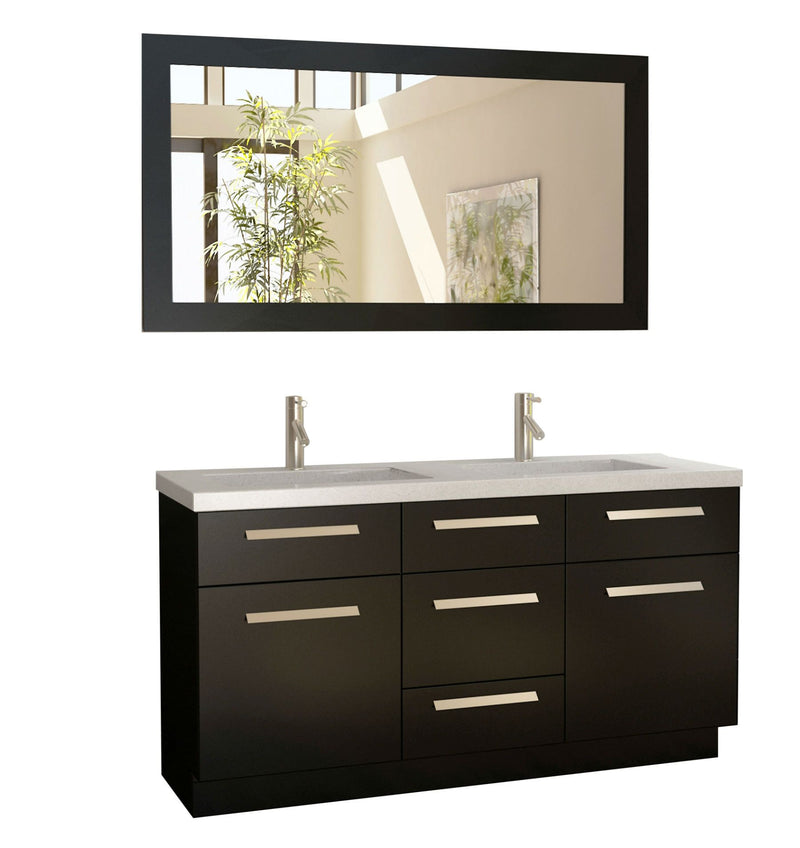 "Design Element Moscony 60"" Double Sink Vanity Set in Espresso and Matching Mirror in Espresso"