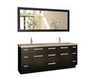 "Design Element Moscony 72"" Double Sink Vanity Set in Espresso and Matching Mirror in Espresso"