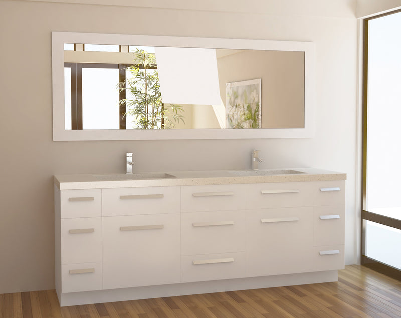 "Design Element Moscony 84"" Double Sink Vanity Set in White"