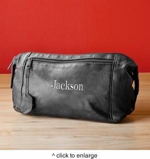 Personalized Embroidered Leather Mens Toiletry Bag