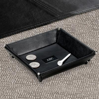 Personalized Black Leather Stash Tray