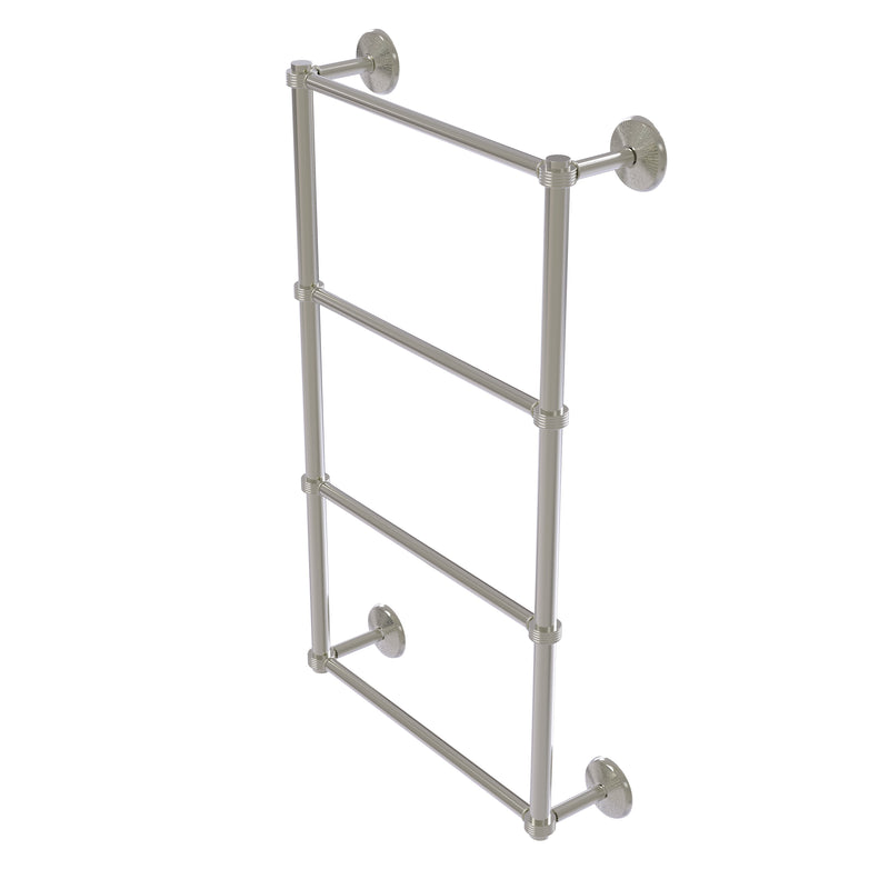 Allied Brass Monte Carlo Collection 4 Tier 24 Inch Ladder Towel Bar with Groovy Detail MC-28G-24-SN