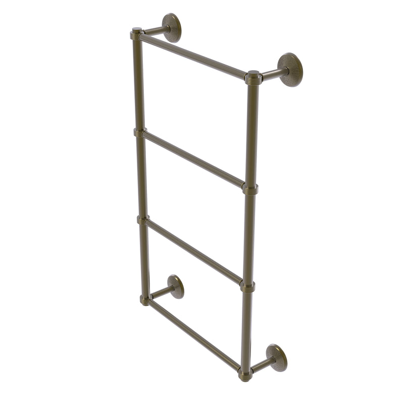 Allied Brass Monte Carlo Collection 4 Tier 30 Inch Ladder Towel Bar with Groovy Detail MC-28G-30-ABR