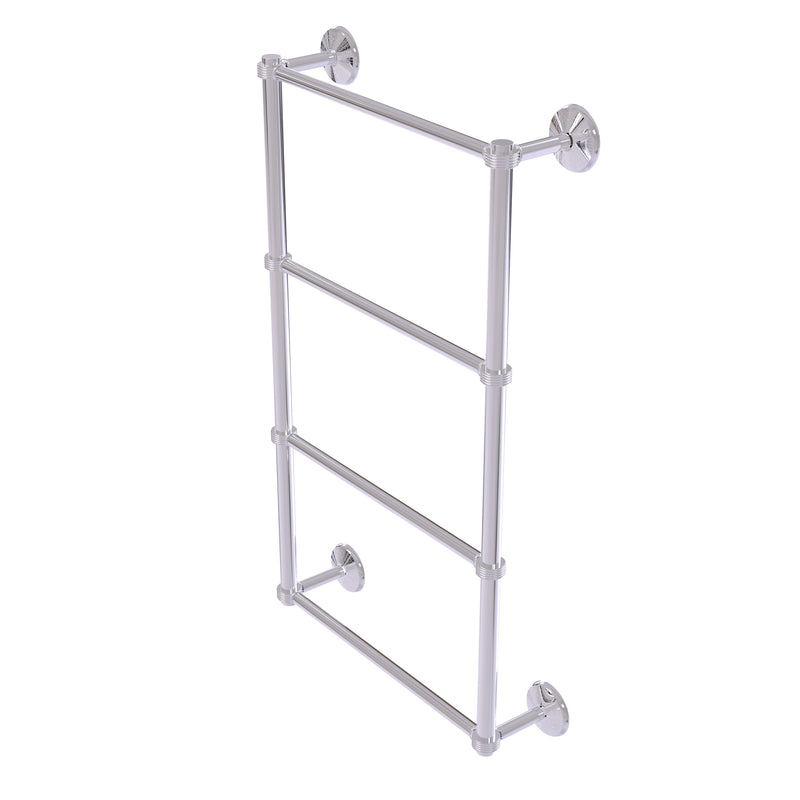 Allied Brass Monte Carlo Collection 4 Tier 30 Inch Ladder Towel Bar with Groovy Detail MC-28G-30-PC