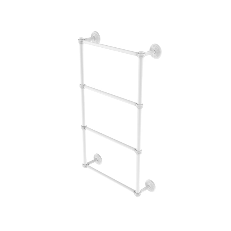 Allied Brass Monte Carlo Collection 4 Tier 36 Inch Ladder Towel Bar with Groovy Detail MC-28G-36-WHM