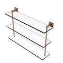 Allied Brass Montero Collection 22 Inch Triple Tiered Glass Shelf MT-5-22-BBR