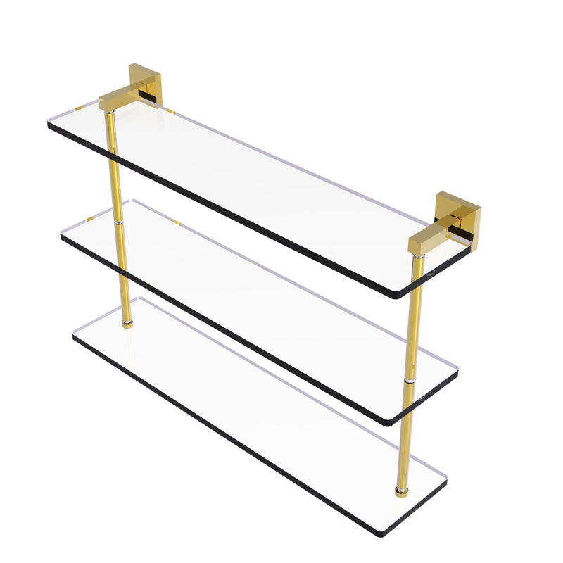 Allied Brass Montero Collection 22 Inch Triple Tiered Glass Shelf MT-5-22-PB