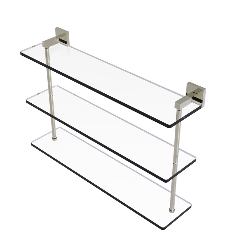 Allied Brass Montero Collection 22 Inch Triple Tiered Glass Shelf MT-5-22-PNI