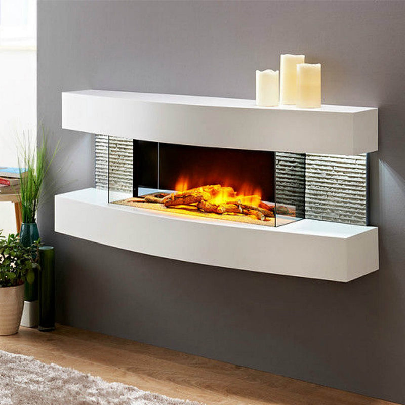 Evolution Fires Miami Curve 48 inch Fireplace White
