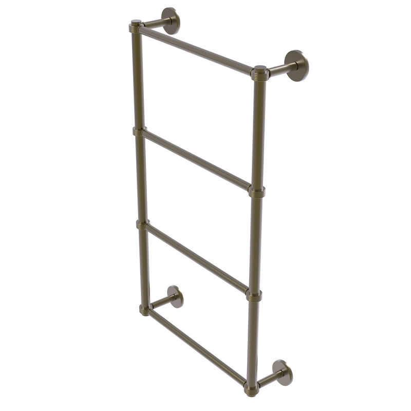 Allied Brass Prestige Skyline Collection 4 Tier 24 Inch Ladder Towel Bar with Groovy Detail P1000-28G-24-ABR
