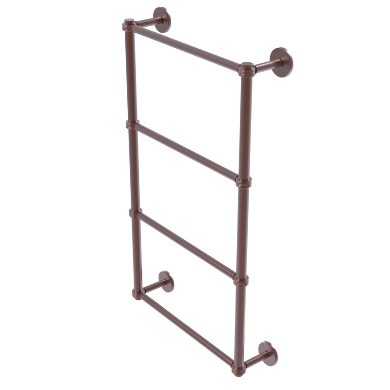Allied Brass Prestige Skyline Collection 4 Tier 24 Inch Ladder Towel Bar with Groovy Detail P1000-28G-24-CA