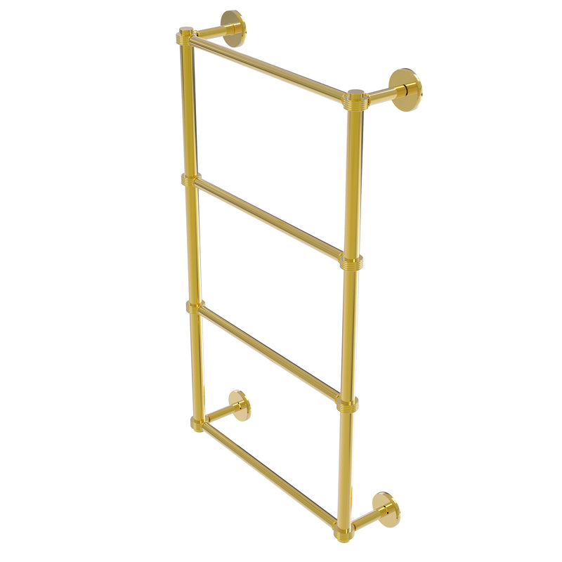 Allied Brass Prestige Skyline Collection 4 Tier 24 Inch Ladder Towel Bar with Groovy Detail P1000-28G-24-PB