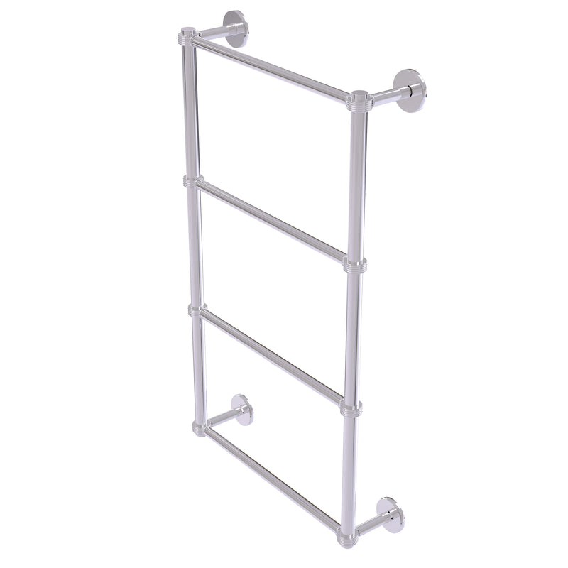 Allied Brass Prestige Skyline Collection 4 Tier 24 Inch Ladder Towel Bar with Groovy Detail P1000-28G-24-PC