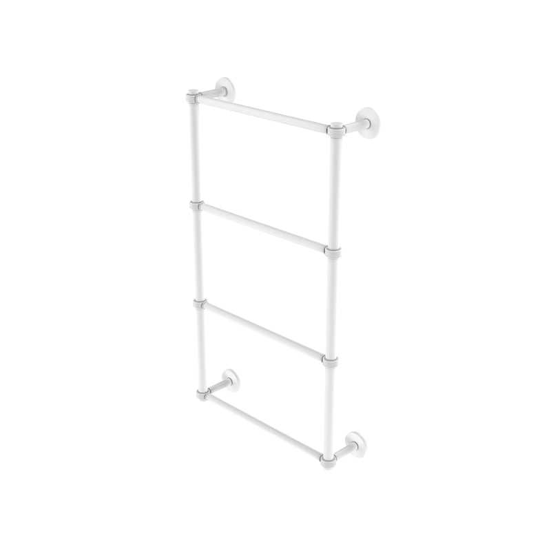 Allied Brass Prestige Skyline Collection 4 Tier 24 Inch Ladder Towel Bar with Groovy Detail P1000-28G-24-WHM