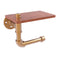 Allied Brass Pipeline Collection Toilet Paper Holder with Wood Shelf P-140-ETPWS-BBR