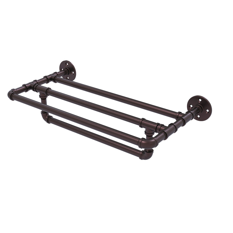 Allied Brass Pipeline Collection 24 Inch Wall Mounted Towel Shelf with Towel Bar P-240-24-TSTB-ABZ
