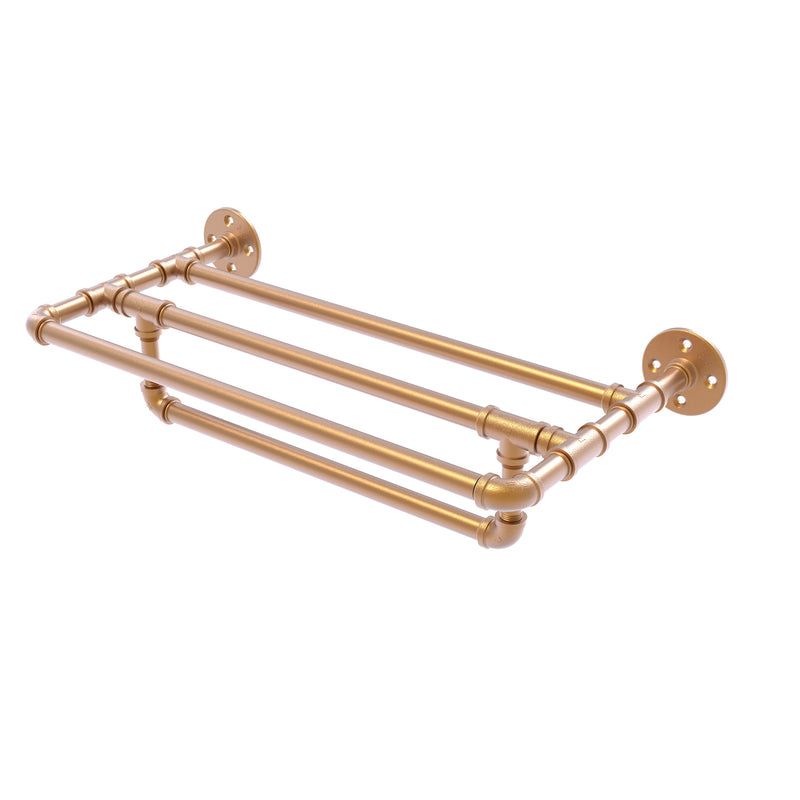 Allied Brass Pipeline Collection 24 Inch Wall Mounted Towel Shelf with Towel Bar P-240-24-TSTB-BBR