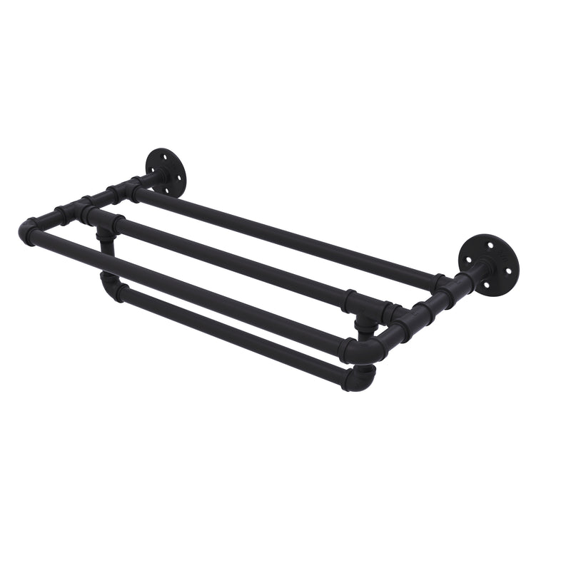 Allied Brass Pipeline Collection 24 Inch Wall Mounted Towel Shelf with Towel Bar P-240-24-TSTB-BKM