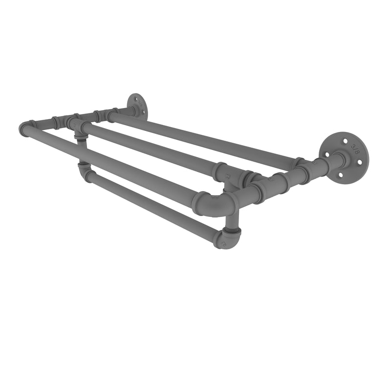Allied Brass Pipeline Collection 24 Inch Wall Mounted Towel Shelf with Towel Bar P-240-24-TSTB-GYM