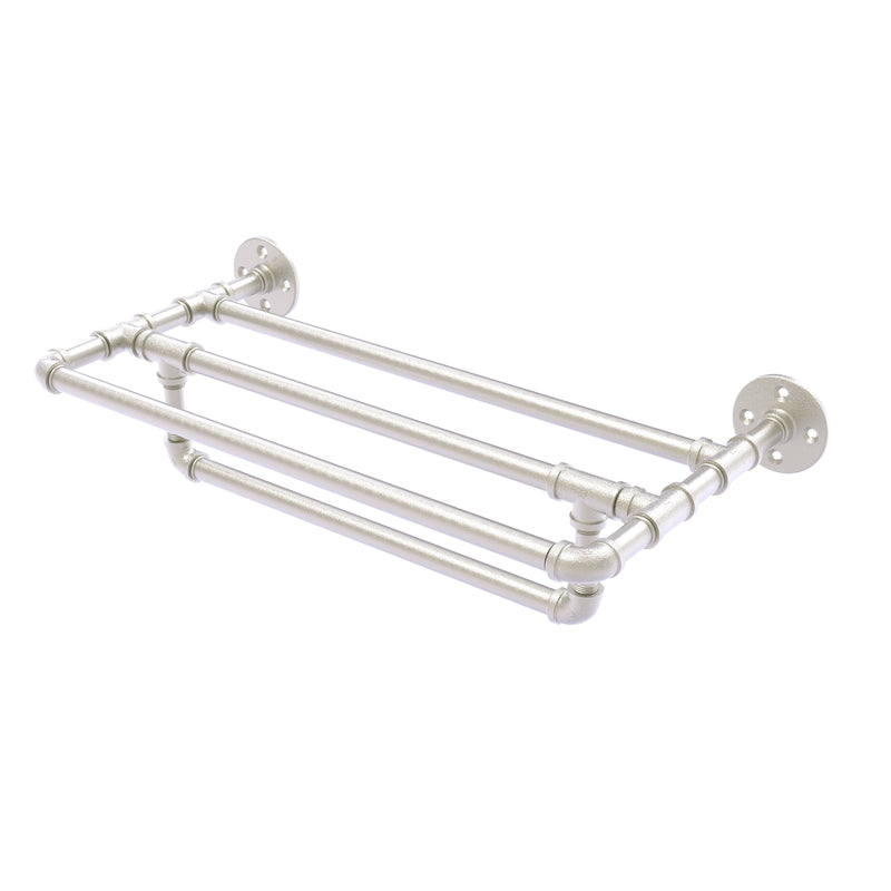 Allied Brass Pipeline Collection 24 Inch Wall Mounted Towel Shelf with Towel Bar P-240-24-TSTB-SN