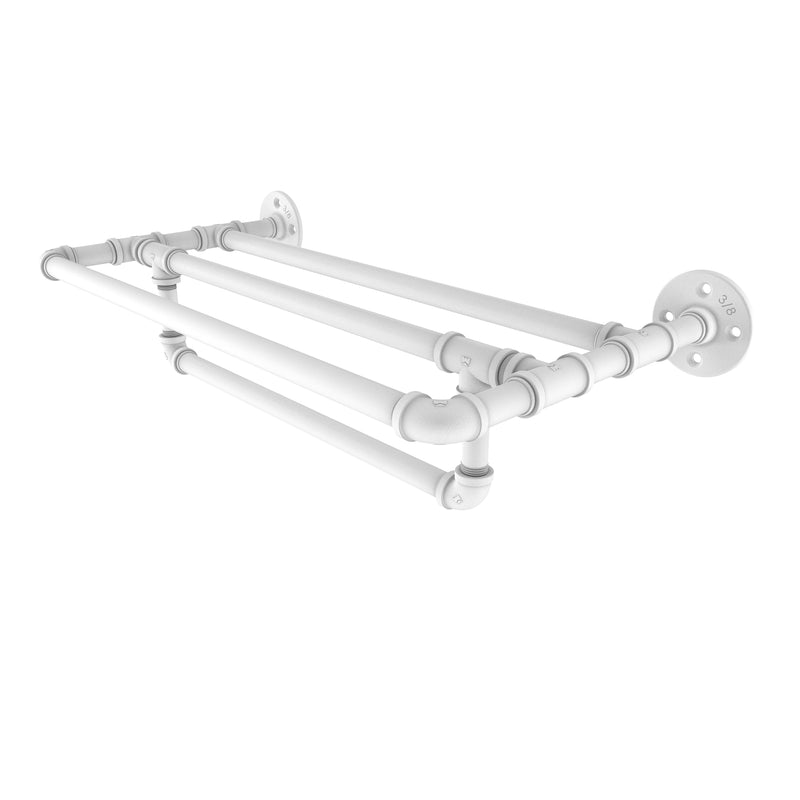 Allied Brass Pipeline Collection 24 Inch Wall Mounted Towel Shelf with Towel Bar P-240-24-TSTB-WHM