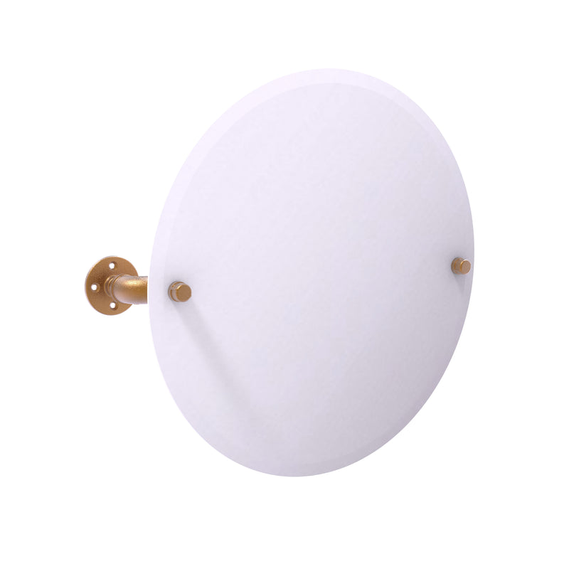 Allied Brass Pipeline Collection Frameless Round Wall Mounted Tilt Mirror P-350-TM90-BBR