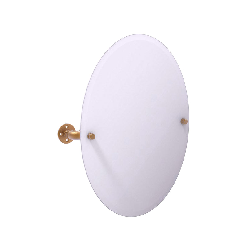 Allied Brass Pipeline Collection Frameless Oval Wall Mounted Tilt Mirror P-350-TM91-BBR