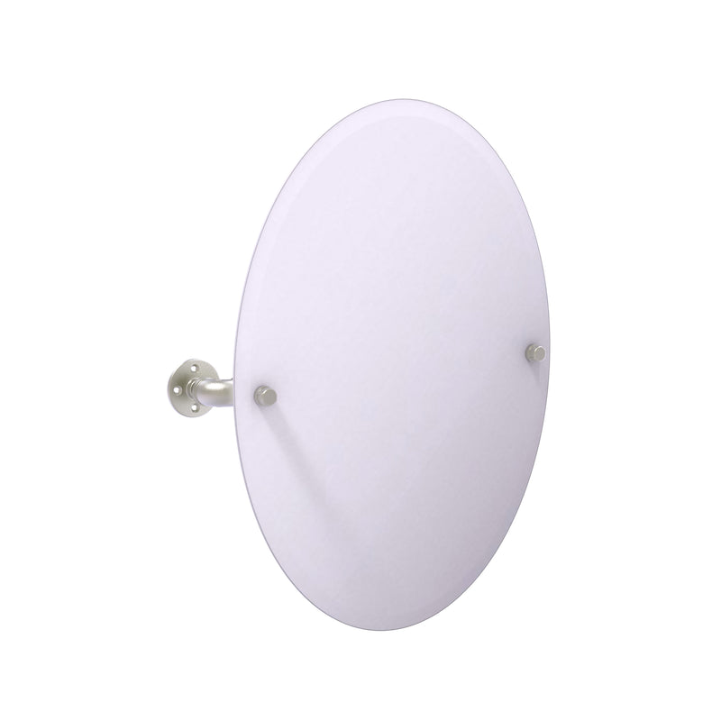 Allied Brass Pipeline Collection Frameless Oval Wall Mounted Tilt Mirror P-350-TM91-SN
