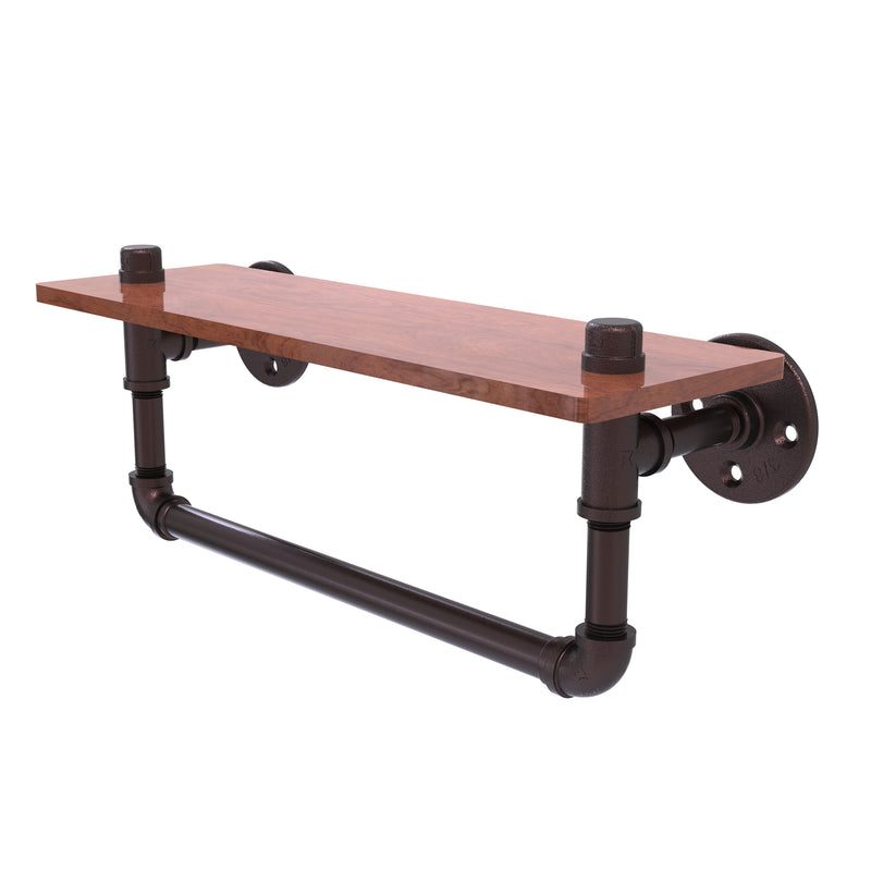 Allied Brass Pipeline Collection 16 Inch Ironwood Shelf with Towel Bar P-460-16-WSTB-ABZ