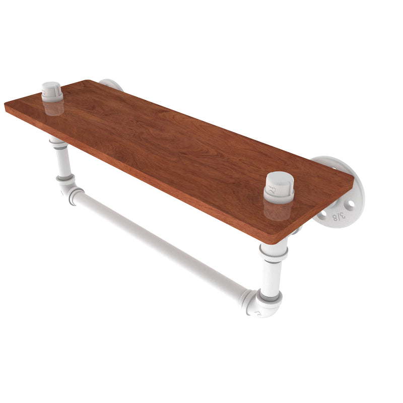 Allied Brass Pipeline Collection 16 Inch Ironwood Shelf with Towel Bar P-460-16-WSTB-WHM