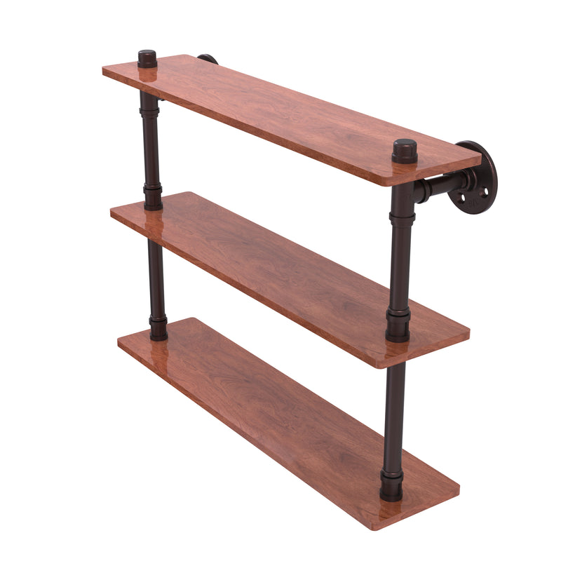 Allied Brass Pipeline Collection 22 Inch Ironwood Triple Shelf P-490-22-TWS-ABZ