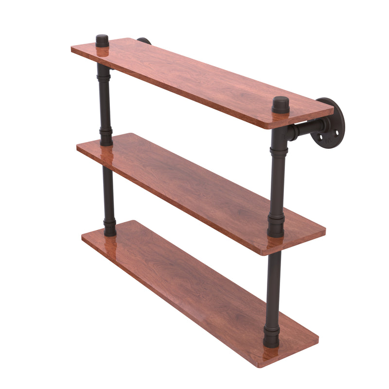 Allied Brass Pipeline Collection 22 Inch Ironwood Triple Shelf P-490-22-TWS-ORB