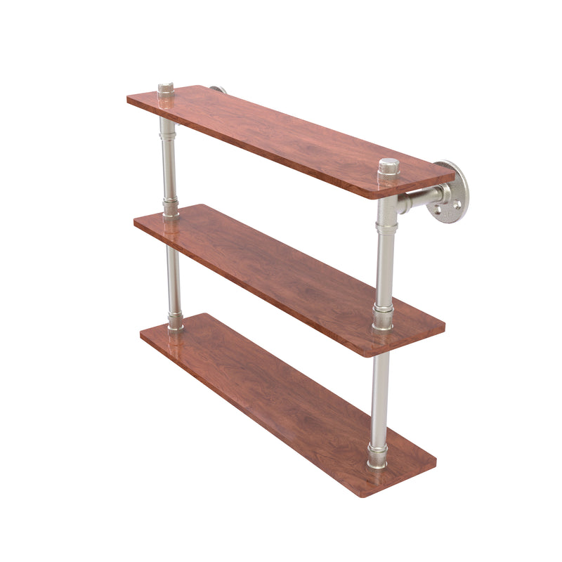 Allied Brass Pipeline Collection 22 Inch Ironwood Triple Shelf P-490-22-TWS-SN