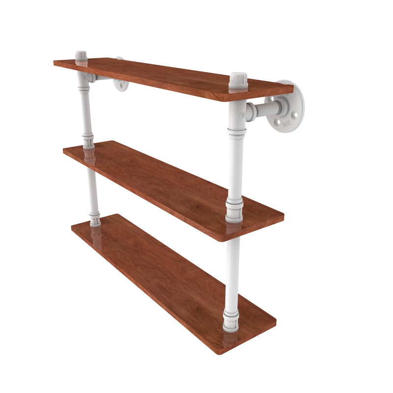 Allied Brass Pipeline Collection 22 Inch Ironwood Triple Shelf P-490-22-TWS-WHM